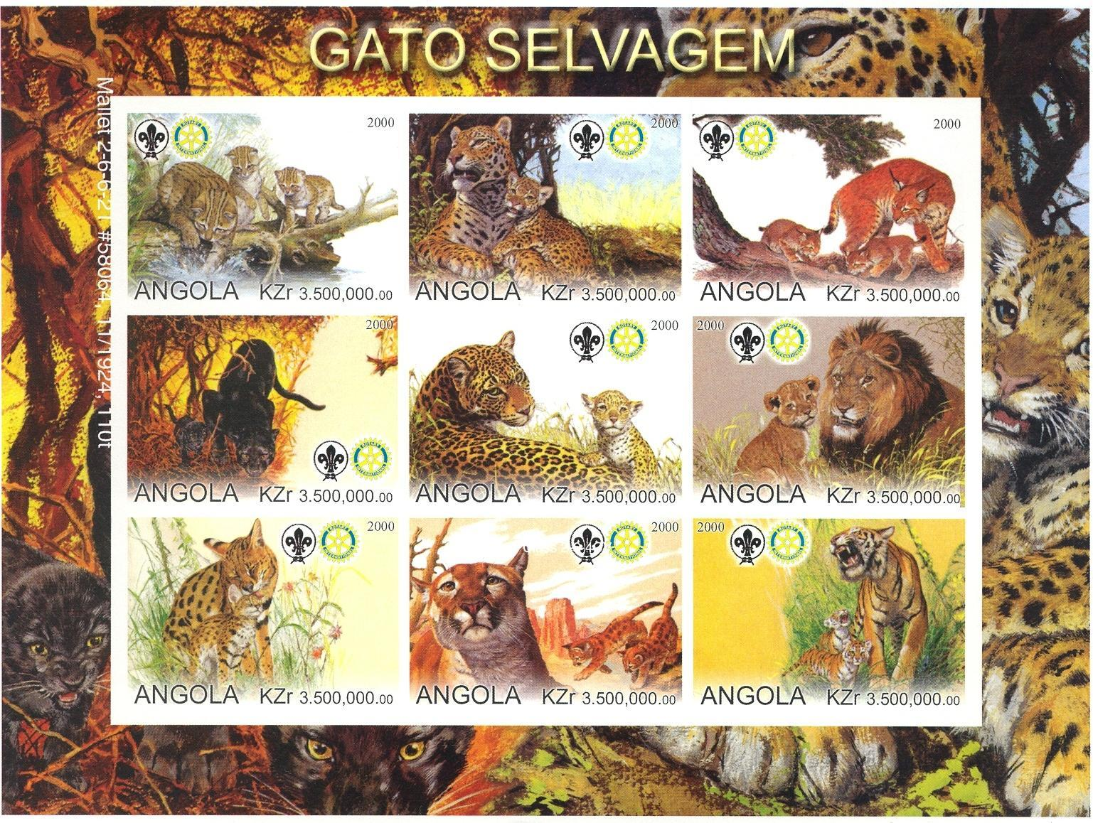 Stamps with Scouting, Cat-like, Tiger, Panther, Rotary, Lion from Angola (non official) (image for product #030294)