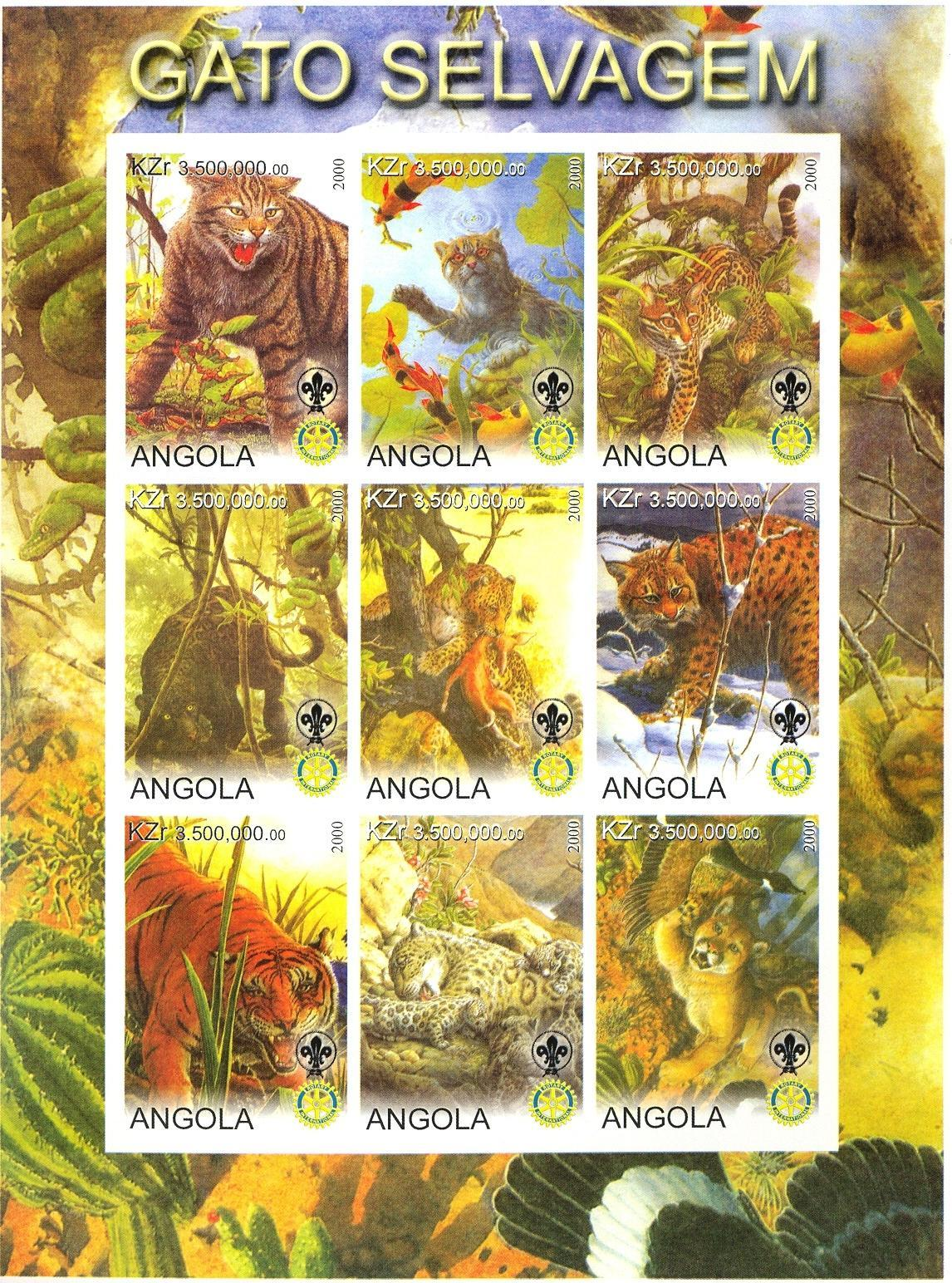 Stamps with Bird, Fish, Scouting, Cat-like, Tiger, Panther, Rotary from Angola (non official) (image for product #030295)