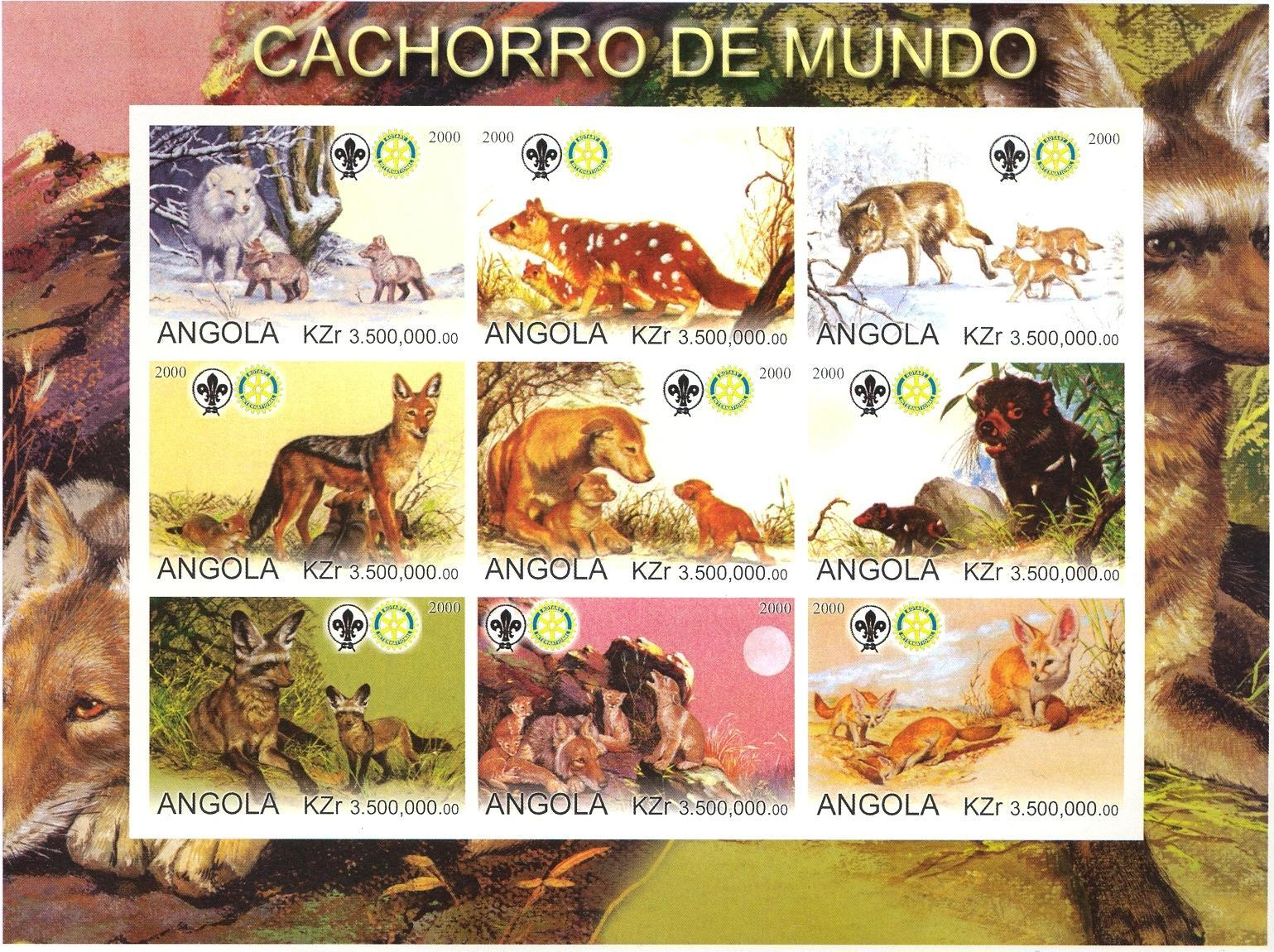Stamps with Scouting, Rotary, Fox, Wolf from Angola (non official) (image for product #030297)
