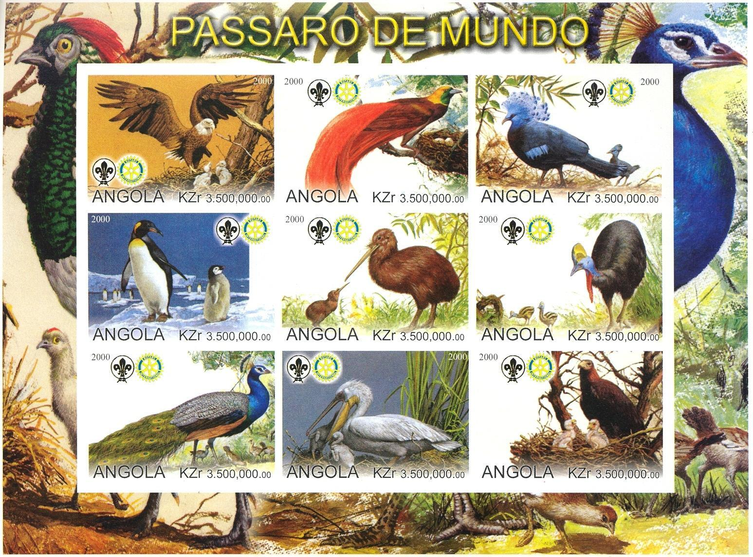 Stamps with Bird, Scouting, Pelican, Penguin, Rotary, Eagle, Kiwi, Peacock from Angola (non official) (image for product #030300)