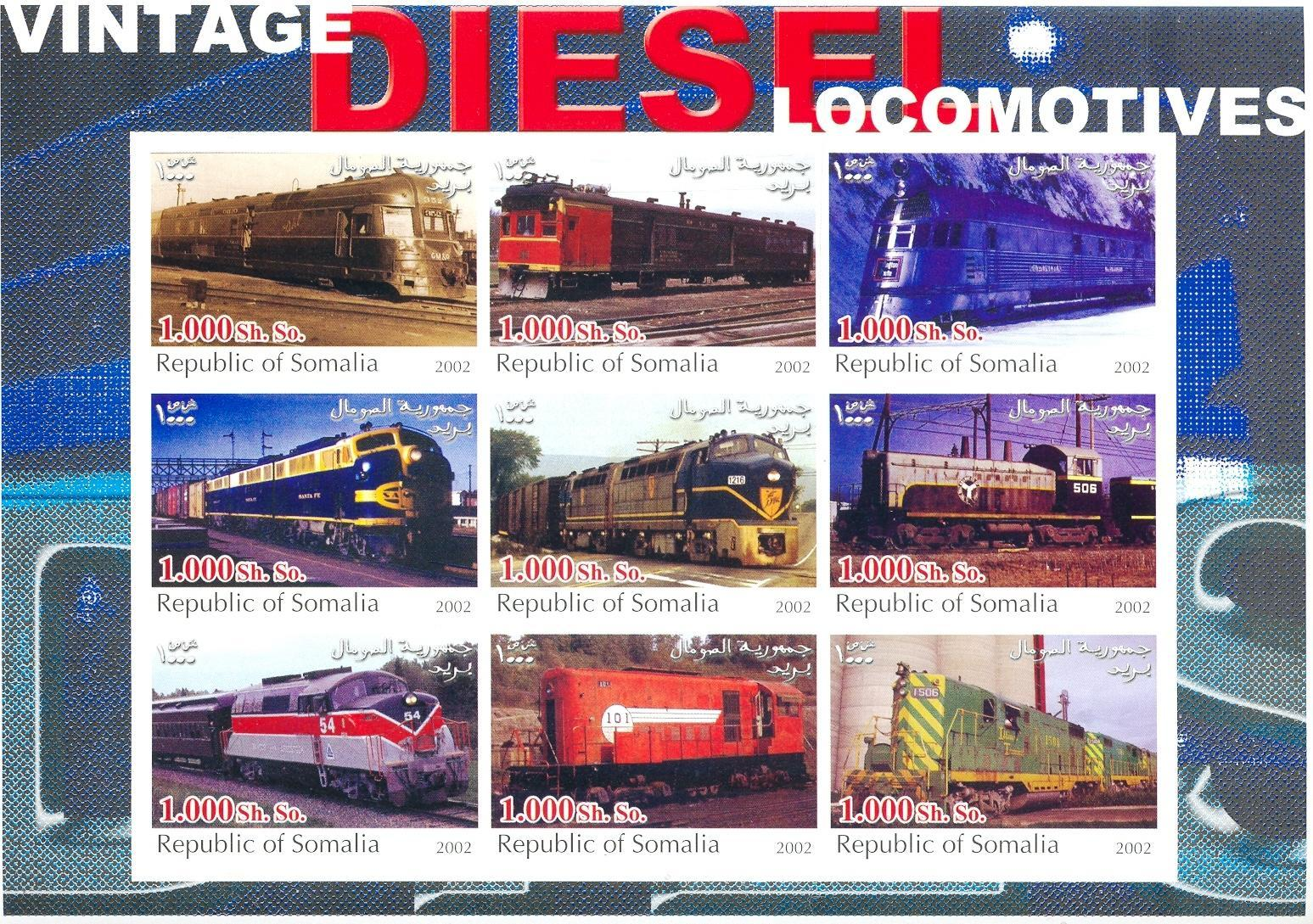 Stamps with Train / Railway from Somalia (non official) (image for product #030308)
