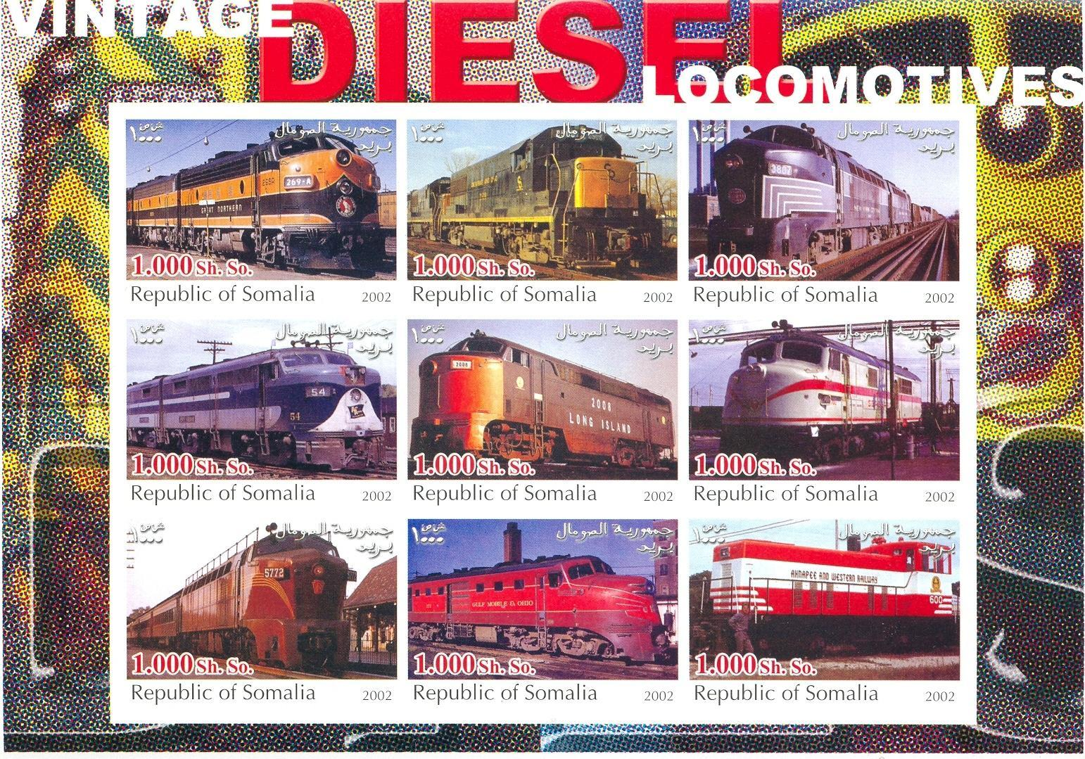 Stamps with Train / Railway from Somalia (non official) (image for product #030309)