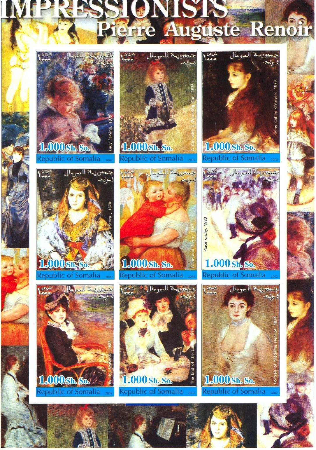 Stamps with Art, Renoir from Somalia (non official) (image for product #030310)