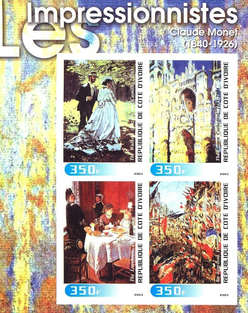 Stamps with Art, Monet (Claude) from Cote d'Ivoire (non official) (image for product #030313)