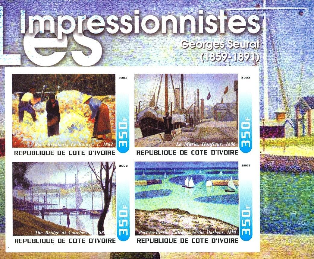 Stamps with Ship, Art, Sailing, Seurat from Cote d'Ivoire (non official) (image for product #030322)