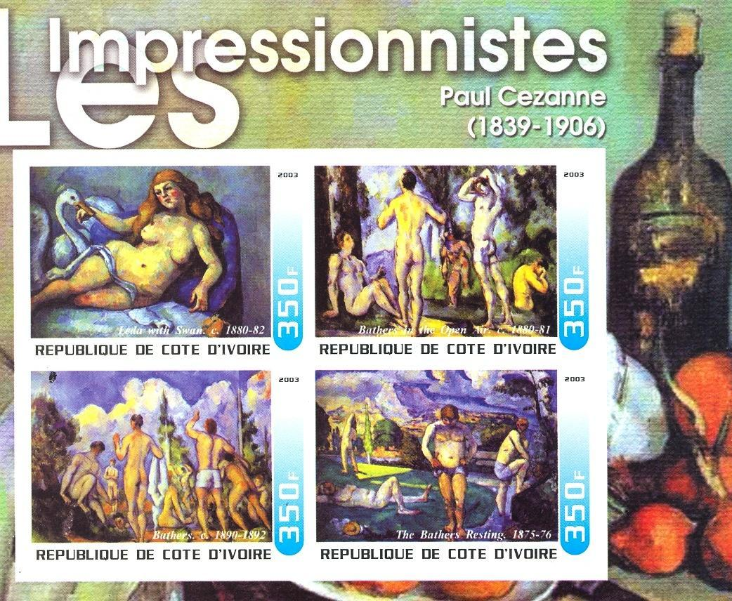 Stamps with Art, Nude, Wine, Cezanne from Cote d'Ivoire (non official) (image for product #030327)
