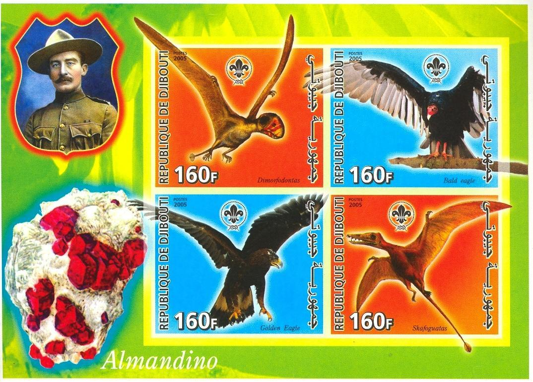 Stamps with Bird, Scouting, Minerals, Prehistory, Baden Powell from Djibouti (non official) (image for product #030336)