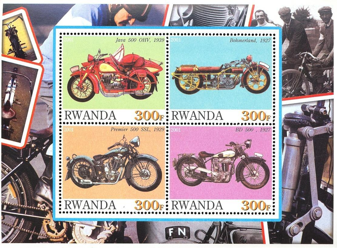 Stamps with Motorcycle from Rwanda (non official) (image for product #030358)