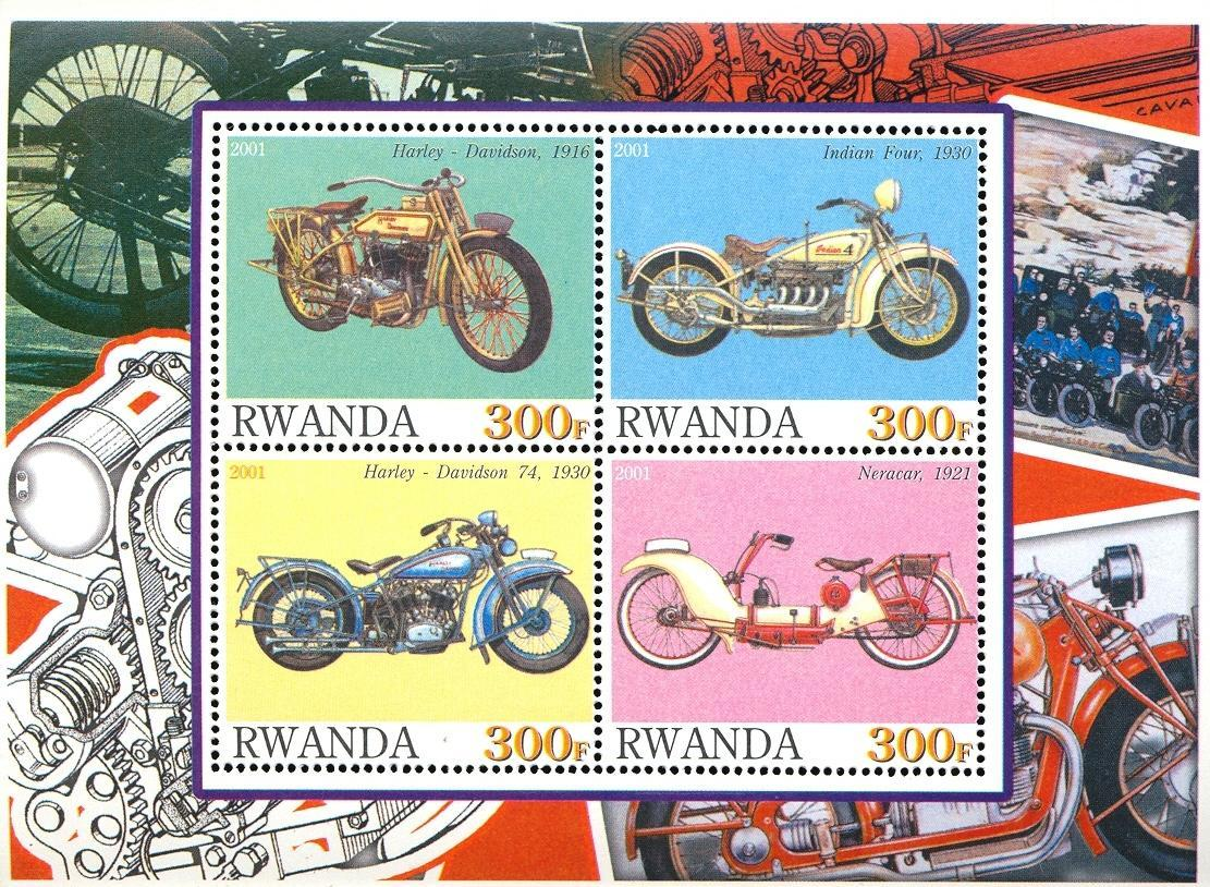 Stamps with Motorcycle from Rwanda (non official) (image for product #030359)