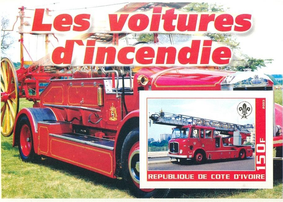 Stamps with Firefighters / engines, Scouting from Cote d'Ivoire (non official) (image for product #030368)