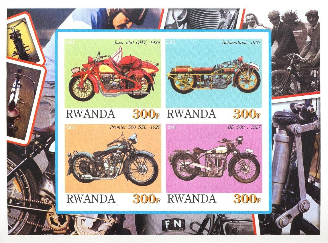 Stamps with Motorcycle from Rwanda (non official) (image for product #030369)