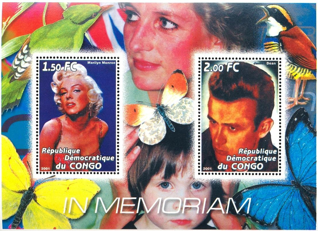 Stamps with Bird, Butterflies, Diana, Marilyn Monroe, James Dean from Congo (non official) (image for product #030373)
