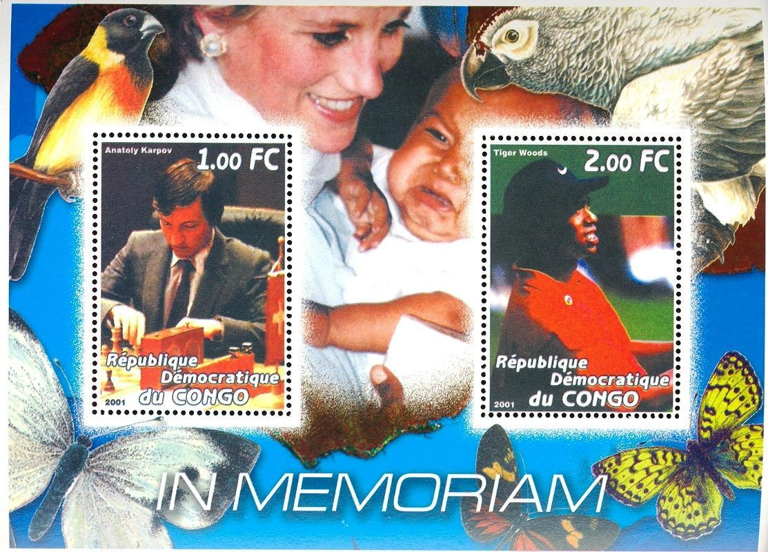 Stamps with Parrot, Butterflies, Diana, Chess, Golf from Congo (non official) (image for product #030376)