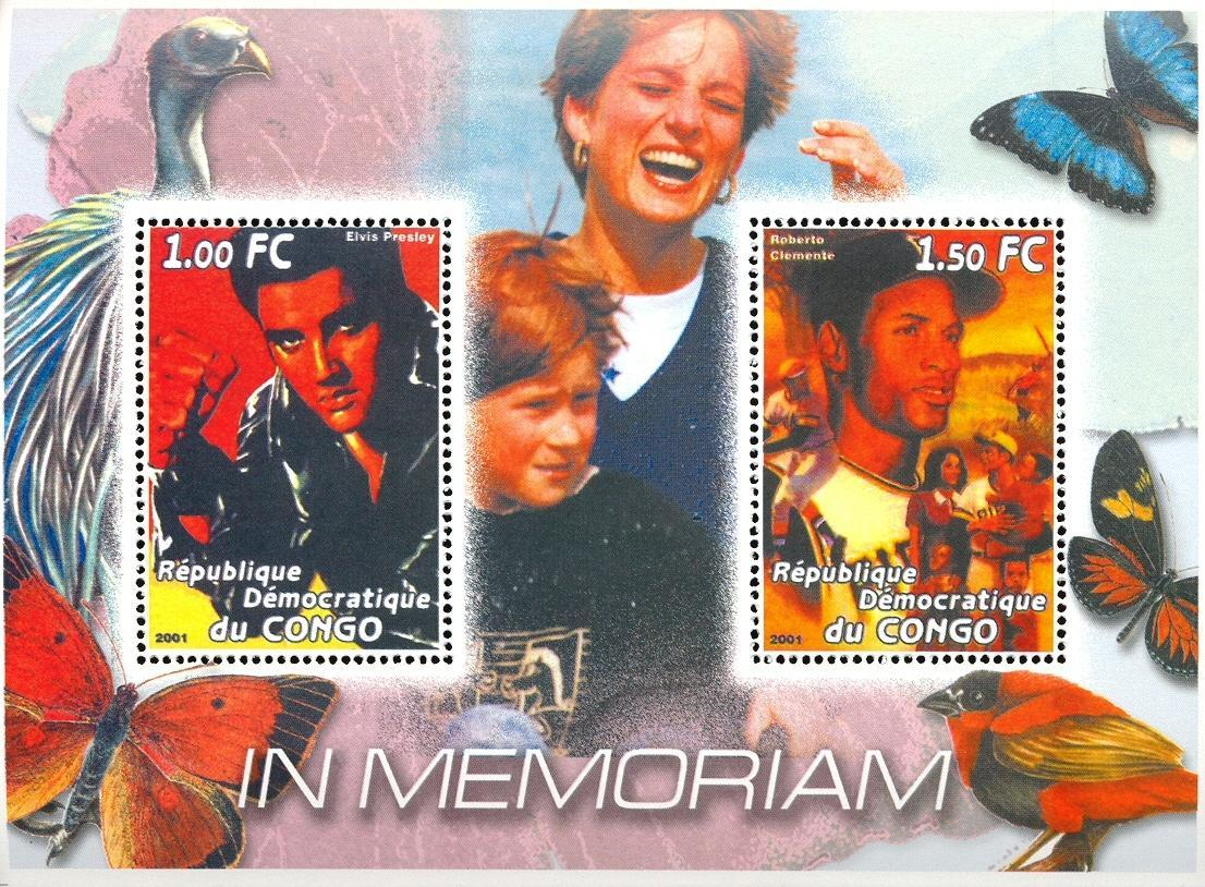 Stamps with Bird, Baseball, Butterflies, Diana, Elvis Presley from Congo (non official) (image for product #030377)