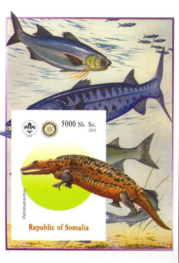 Stamps with Fish, Scouting, Dinosaurs, Rotary from Somalia (non official) (image for product #030379)