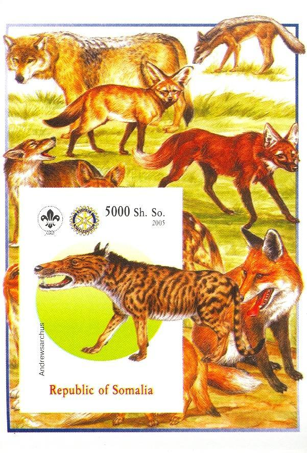 Stamps with Scouting, Dogs, Prehistory, Rotary, Fox, Wolf from Somalia (non official) (image for product #030381)