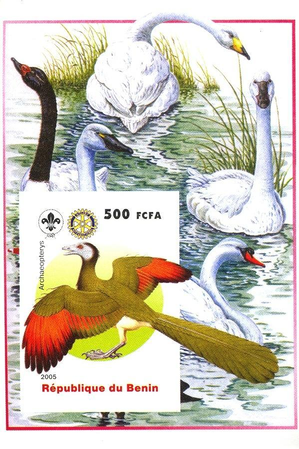Stamps with Bird, Scouting, Prehistory, Rotary, Swan from Benin (non official) (image for product #030382)