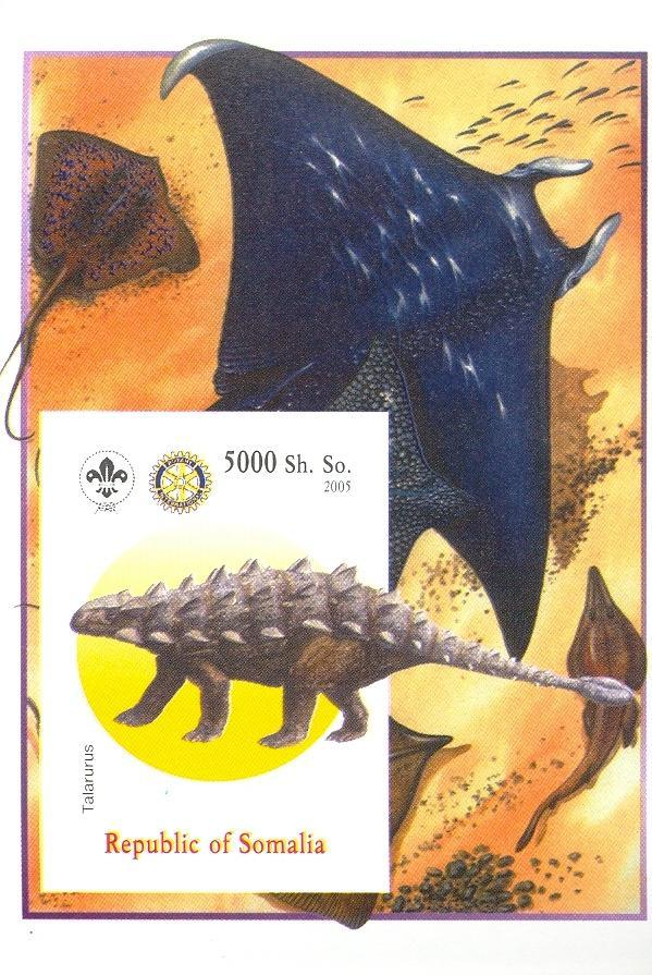 Stamps with Fish, Scouting, Dinosaurs, Prehistory, Rotary, Ray from Somalia (non official) (image for product #030385)