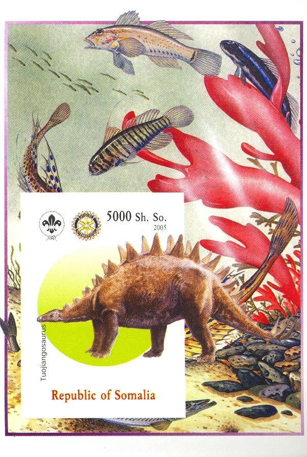 Stamps with Fish, Scouting, Dinosaurs, Prehistory, Rotary from Somalia (non official) (image for product #030386)