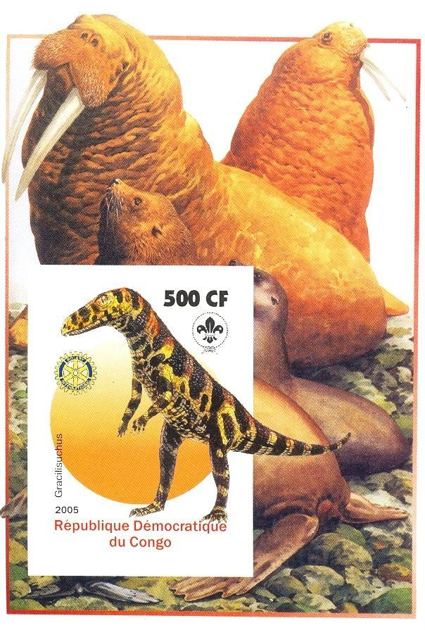 Stamps with Scouting, Dinosaurs, Seal, Prehistory, Rotary, Walrus from Congo (non official) (image for product #030387)