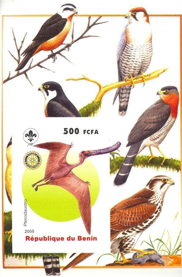 Stamps with Bird, Scouting, Dinosaurs, Prehistory, Rotary from Benin (non official) (image for product #030388)