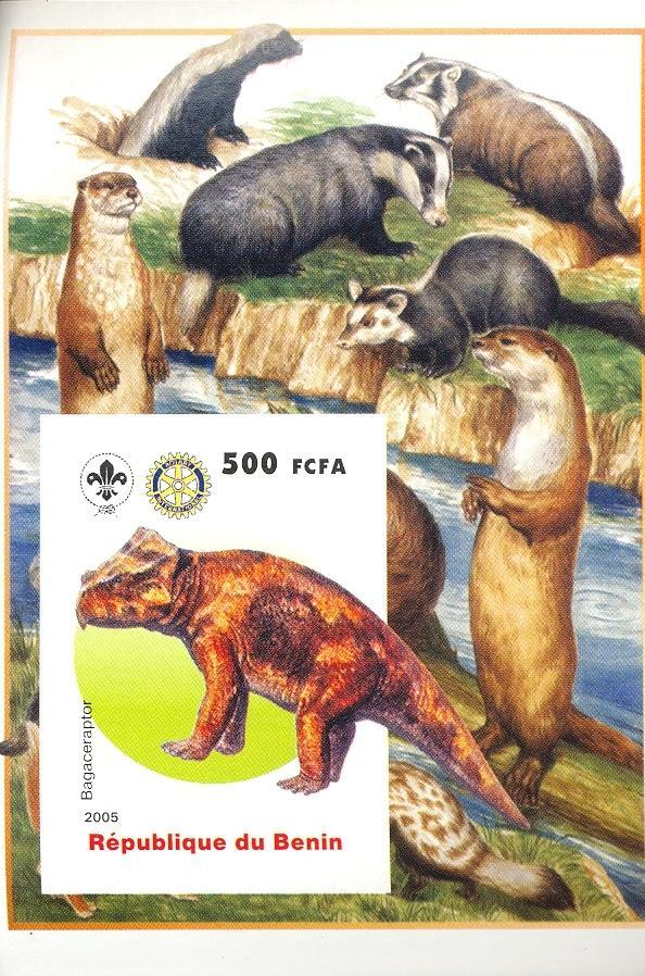 Stamps with Scouting, Dinosaurs, Prehistory, Rotary, Rodents, Badger from Benin (non official) (image for product #030389)