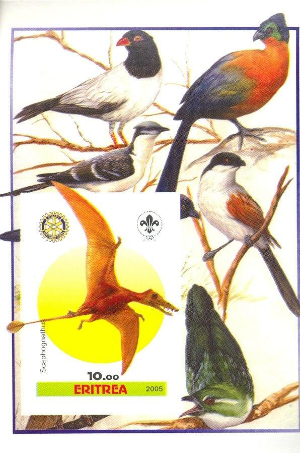 Stamps with Bird, Scouting, Prehistory, Rotary from Eritrea (non official) (image for product #030390)