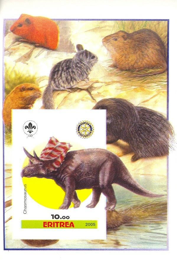 Stamps with Scouting, Dinosaurs, Prehistory, Rotary, Rodents from Eritrea (non official) (image for product #030391)