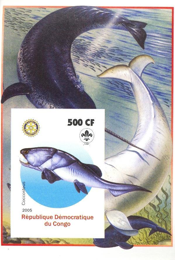 Stamps with Fish, Scouting, Prehistory, Rotary, Whale from Congo (non official) (image for product #030393)