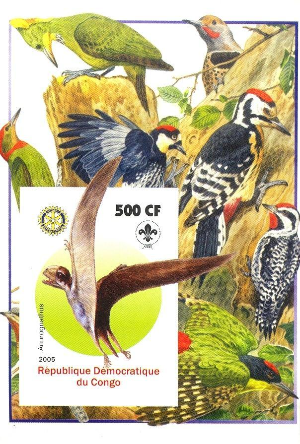 Stamps with Bird, Scouting, Prehistory, Rotary, Woodpecker from Congo (non official) (image for product #030394)