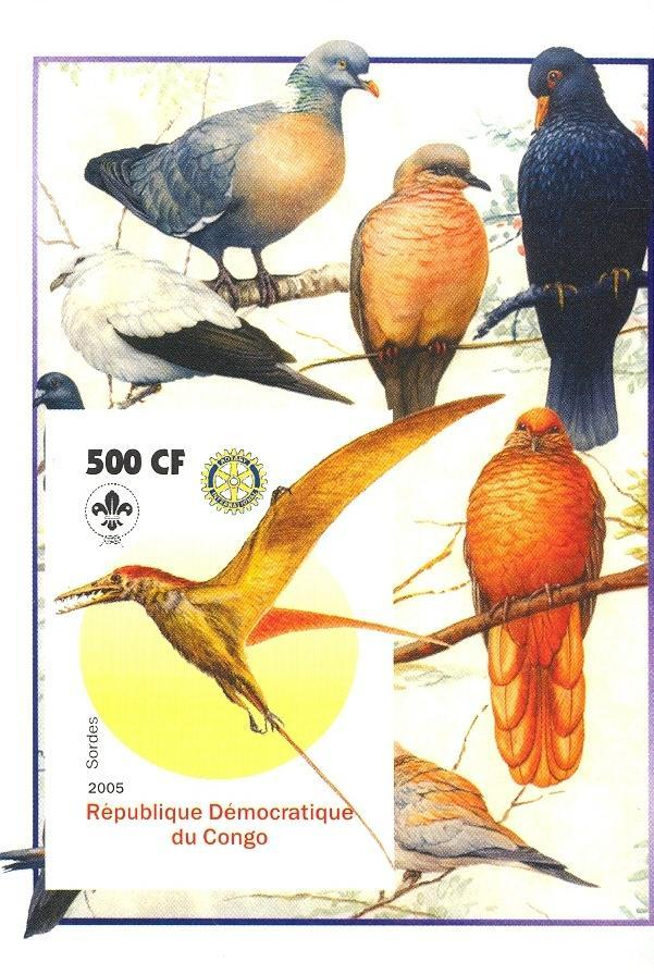 Stamps with Bird, Scouting, Prehistory, Rotary, Pigeon from Congo (non official) (image for product #030397)