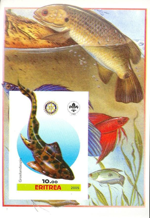 Stamps with Fish, Scouting, Prehistory, Rotary from Eritrea (non official) (image for product #030400)