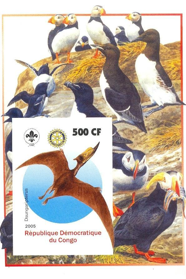 Stamps with Bird, Scouting, Prehistory, Rotary, Puffin from Congo (non official) (image for product #030401)