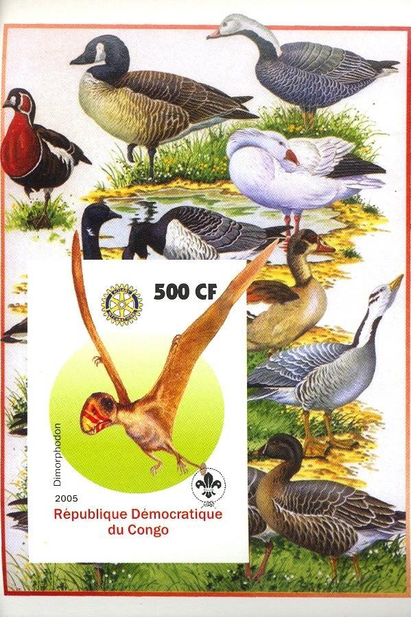 Stamps with Bird, Scouting, Prehistory, Rotary from Congo (non official) (image for product #030402)
