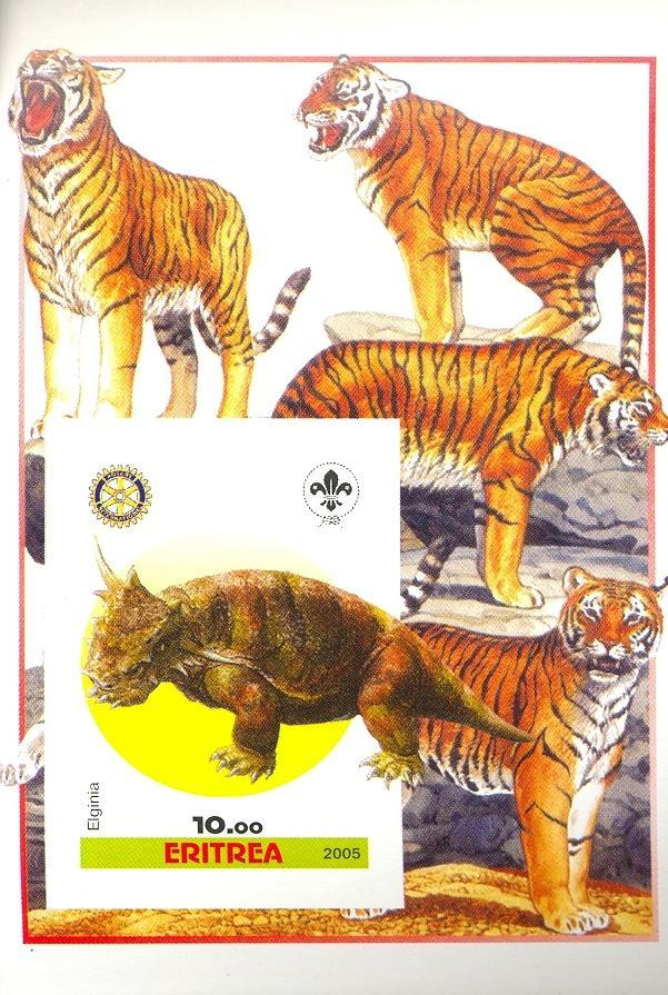 Stamps with Scouting, Dinosaurs, Tiger, Prehistory, Rotary from Eritrea (non official) (image for product #030403)