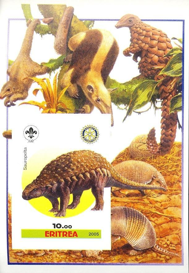 Stamps with Scouting, Dinosaurs, Prehistory, Rotary, Armadillo, Anteater from Eritrea (non official) (image for product #030404)