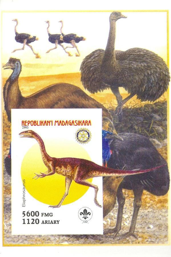 Stamps with Scouting, Prehistory, Rotary, Ostrich from Madagascar (non official) (image for product #030406)