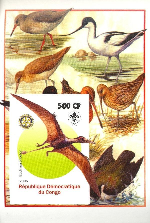 Stamps with Bird, Scouting, Prehistory, Rotary from Congo (non official) (image for product #030407)