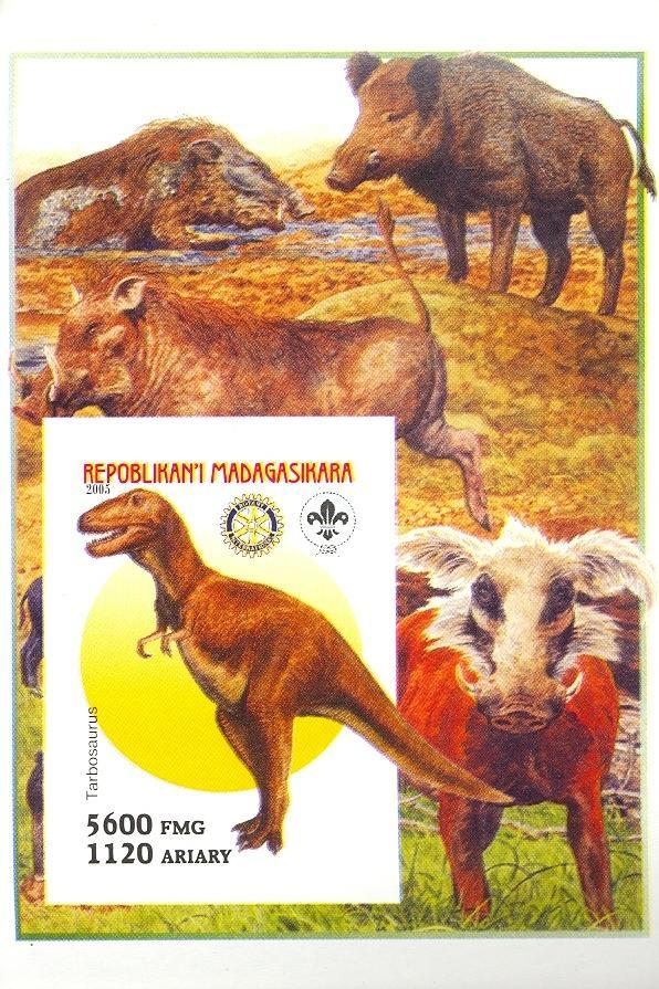 Stamps with Scouting, Prehistory, Rotary, Hog from Madagascar (non official) (image for product #030408)