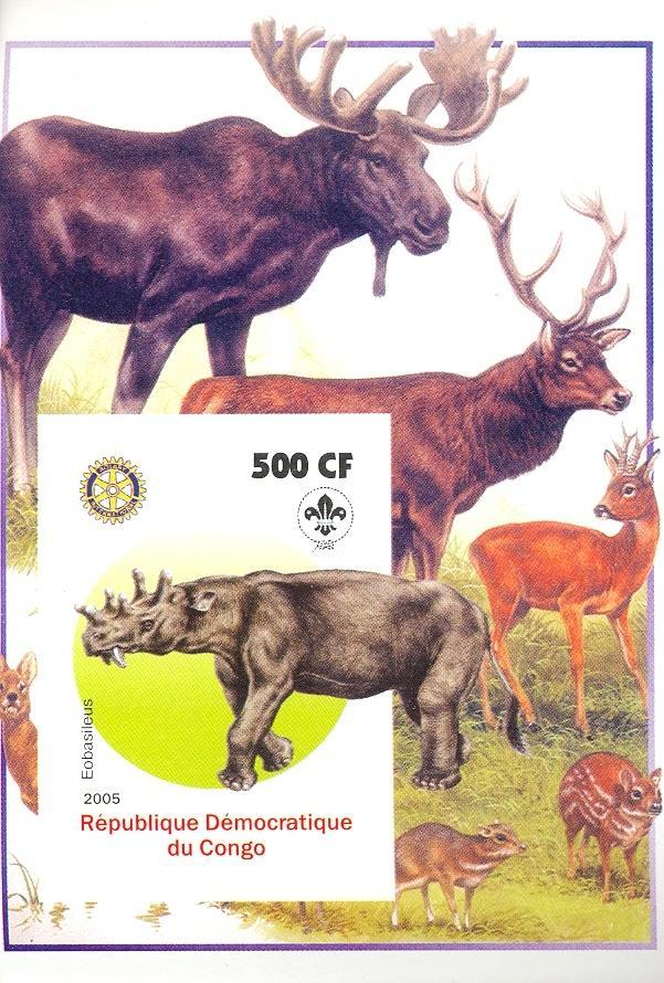 Stamps with Scouting, Dinosaurs, Rotary, Moose, Deer from Congo (non official) (image for product #030410)