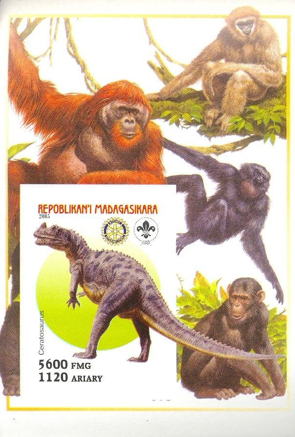 Stamps with Scouting, Dinosaurs, Monkey, Rotary, Chimp, Orang Utan from Madagascar (non official) (image for product #030417)