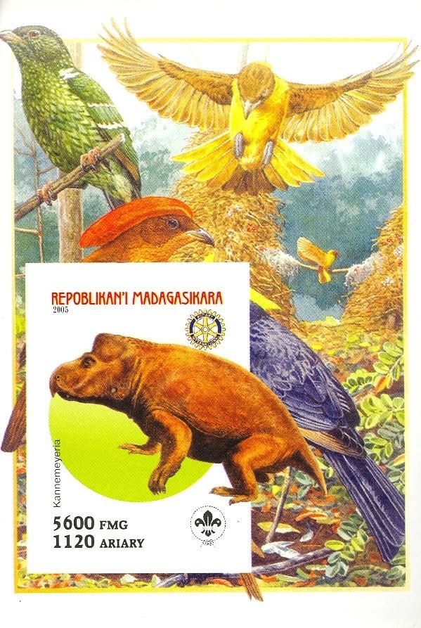 Stamps with Bird, Scouting, Dinosaurs, Rotary from Madagascar (non official) (image for product #030418)