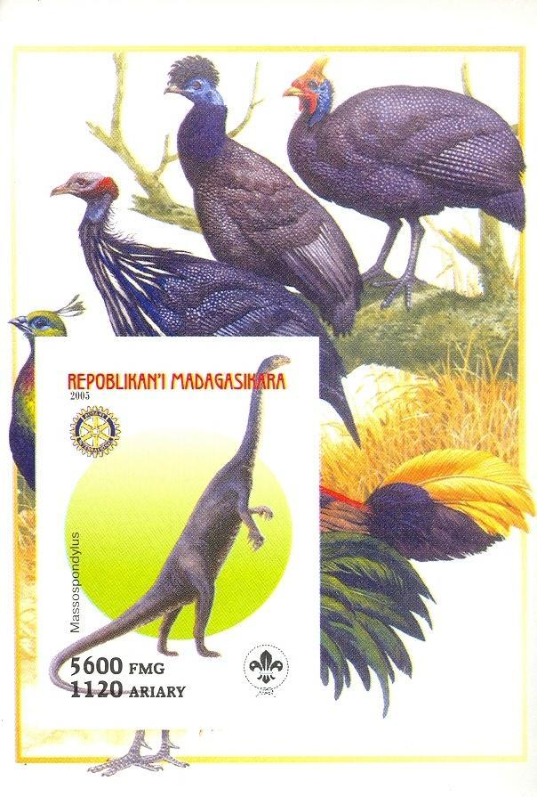 Stamps with Bird, Scouting, Dinosaurs, Rotary from Madagascar (non official) (image for product #030419)
