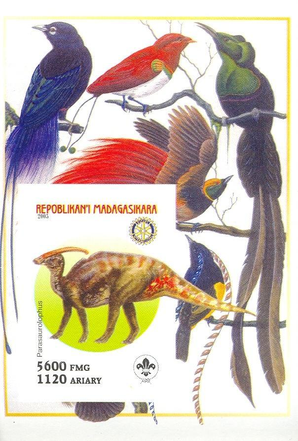 Stamps with Bird, Scouting, Dinosaurs, Rotary from Madagascar (non official) (image for product #030420)