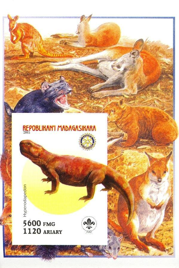 Stamps with Scouting, Dinosaurs, Rotary, Kangaroo from Madagascar (non official) (image for product #030422)
