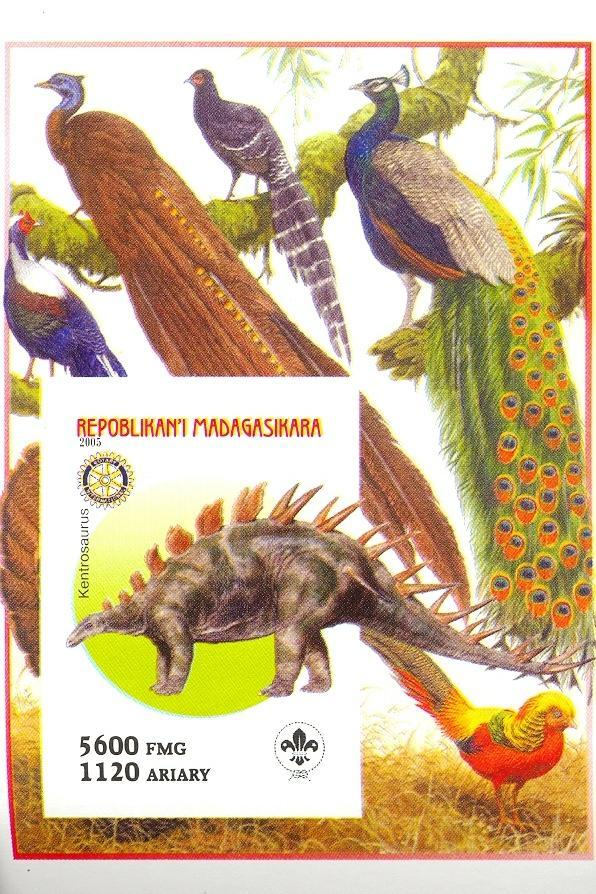 Stamps with Scouting, Dinosaurs, Rotary, Peacock from Madagascar (non official) (image for product #030423)