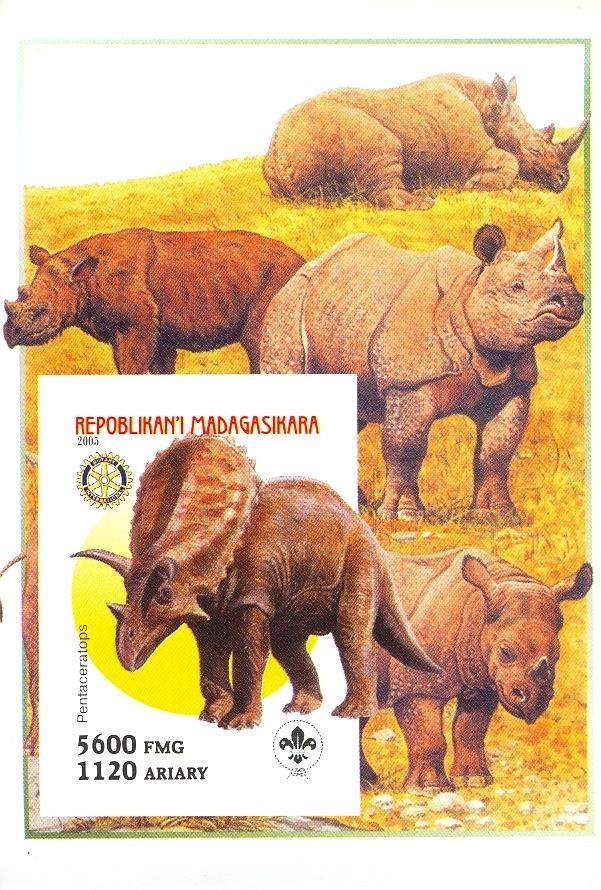 Stamps with Scouting, Dinosaurs, Rhinoceros, Rotary from Madagascar (non official) (image for product #030424)