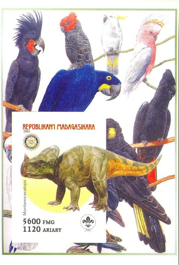 Stamps with Scouting, Parrot, Dinosaurs, Rotary from Madagascar (non official) (image for product #030425)