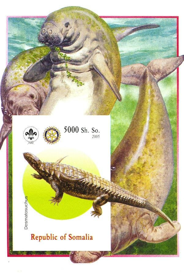 Stamps with Scouting, Dinosaurs, Rotary, Manatee from Somalia (non official) (image for product #030430)