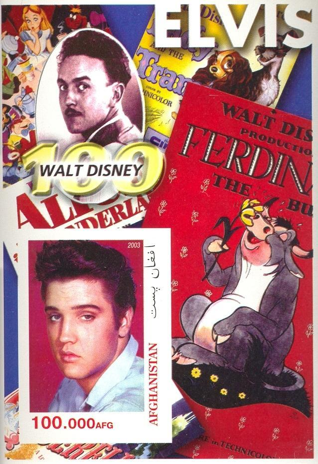 Stamps with Elvis Presley, Cartoon from Afghanistan (non official) (image for product #030444)